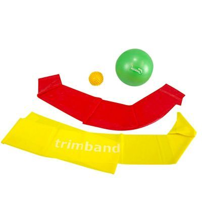 Bundle: 1 x 2m Red Trimband,1 x 2m Yellow Trimband, 1x 18cm Soft Pilates Ball,  & 1 x Yellow Spikey Ball.