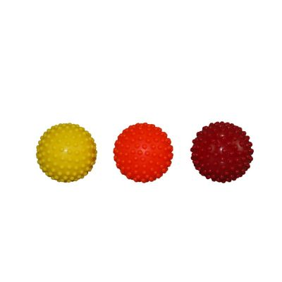 Knobbly Massage Balls  Set of 3,  6cm diameter , Yellow - Firm, Orange - Hard, Red - Very Hard