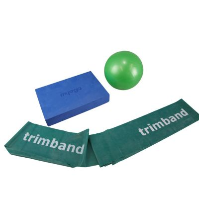 Bundle: 1 x 2m Green Trimband, 1x 18cm Soft Pilates Ball & 1 x Pilates Block.