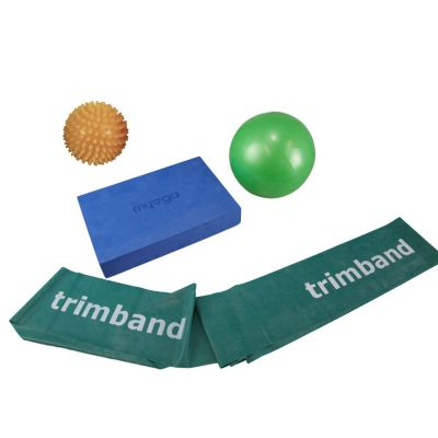 Bundle: 1 x 2m Green Trimband, 1x 18cm Soft Pilates Ball, 1 x Pilates Block & 1 x Yellow Spikey Ball.