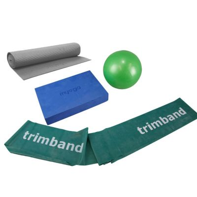 Bundle: 1 x 2m Green Trimband, 1x 18cm Soft Pilates Ball, 1 x Pilates Block & 1 x Thin Mat