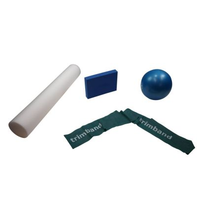 Bundle: 1 x 2m Green Trimband, 1x 26cm Soft Pilates Ball, 1 x Pilates Block & 1 x 90cm Foam Roller.